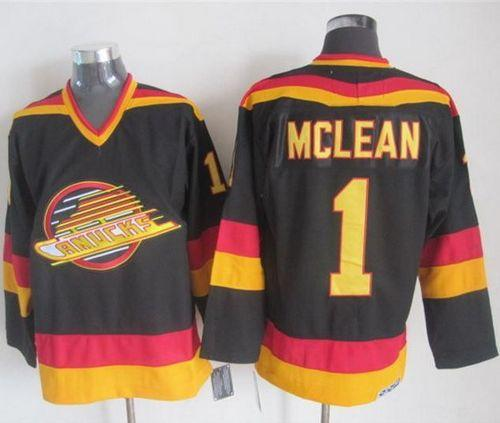 Canucks #1 Kirk Mclean Black Gold CCM Throwback Stitched NHL Jersey