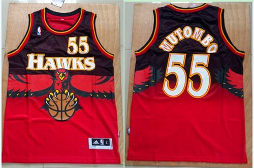 official photos 6e66d dfa8a Hawks #55 Dikembe Mutombo Red Throwback Stitched NBA Jersey ...