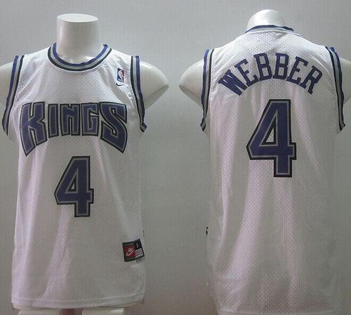 the latest 51ad6 c940d Kings #4 Chris Webber White Home Throwback Stitched NBA ...